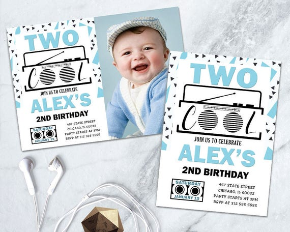 Boy 2nd Birthday Printable Invite Two Cool Invitation Blue Party Second
