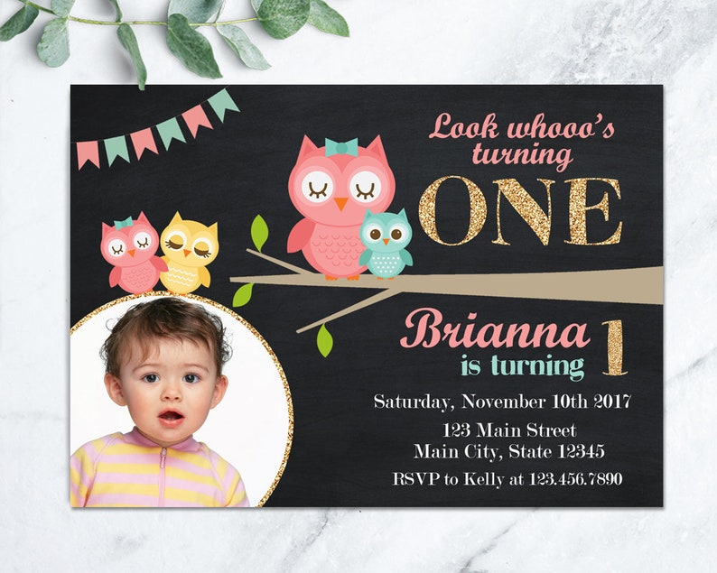 Owl Birthday Invitation Pink Invite Girl First