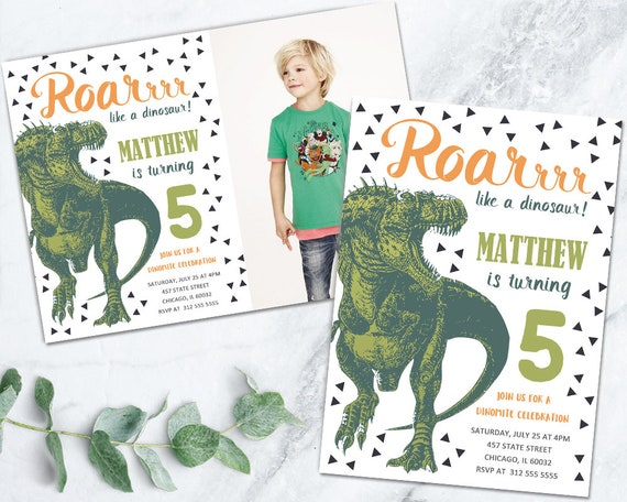 Boy Dinosaur Birthday Invitation Printable Roaring Green Party Dig T Rex