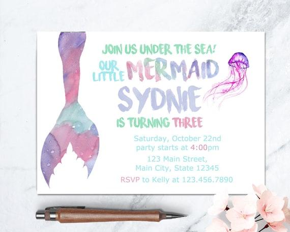 Mermaid Birthday Invitation Girl Mermaid Invite Printable Under