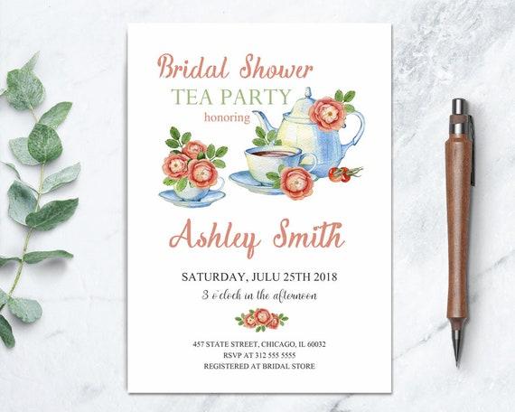 bridal shower tea party printable invitation floral tea party