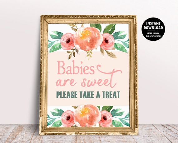 Babies Are Sweet Printable Baby Shower Dessert Table Sign Favors