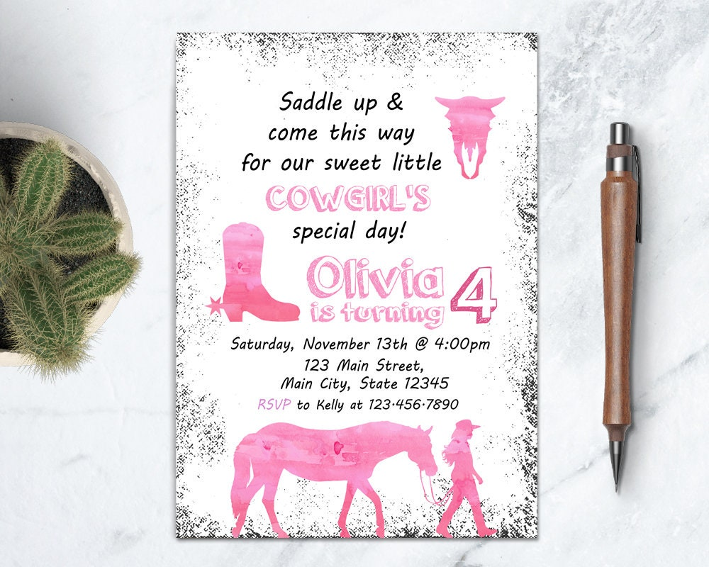 Pink Cowgirl Invitation Wild West Birthday Party Horse   Etsy