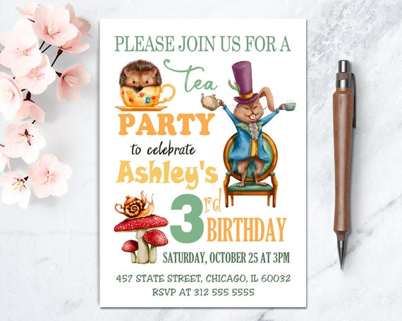 Tea Party Birthday Printable Invite Mad Hatter Tea Party Etsy