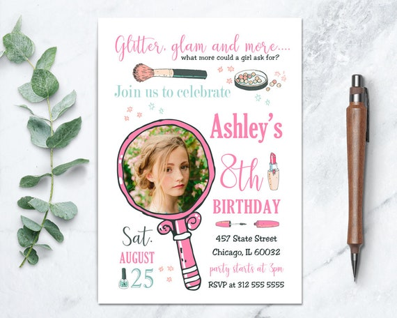 Makeup Party Invitations, Spa Party Invitations, Girls Party Invitations, Makeup Party Theme, Slumber Party, Pamper Party Invitations