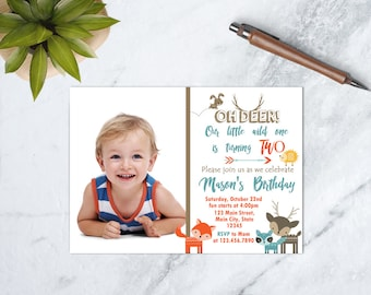 Wild One Birthday Invitation, Oh Deer Birthday Invitation, Woodland Forest Birthday Invite, Cute Forest Animals, PRINTABLE