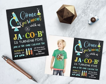 Science Party Invitation, Boy Science Birthday, Science Party printable, Science Experiment, Mad Scientist Invitation, Science Lab Party