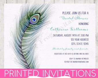 custom printed watercolor peacock feather bridal shower invitation 99 each envelope included by dancing frog invitations