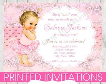 Tutu birthday invitations etsy vintage baby girl tutu birthday invitations you choose hairskin color girl tutu birthday invitation 99 each with envelope filmwisefo
