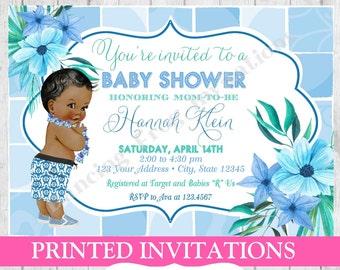 Hawaiian baby shower invitations etsy vintage antique luau tropical hawaiian african american baby shower invitation printed hawaiian baby shower invitations filmwisefo