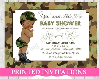 Army camo camouflage soldier military baby shower vintage antique army camo camouflage soldier african american baby shower invitation printed army baby shower invitations filmwisefo