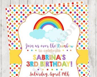 "Custom Printed 4.25X5.5"" Rainbow Dots Birthday, Over the Rainbow, Rainbow Birthday Invitations, envelopes included"