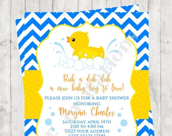 """Custom Printed 4.25X5.5"""" Chevron Rubber Duck, Rubber Duckie, Ducky Baby Shower Invitations, envelopes included"""