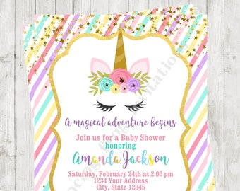 "Custom Printed 4.25X5.5"" Unicorn Baby Shower Invitations, Unicorn Face, Unicorn Shower, Invitation, envelopes included"