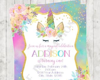 Custom Printed 425X55 Unicorn Birthday Invitations Face Party Invitation Envelopes Included
