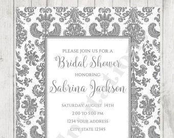 custom printed gray damask bridal shower invitation envelope included by dancing frog invitations