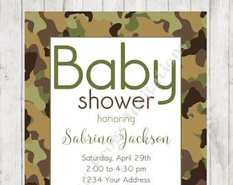 Camo baby shower invitations etsy custom printed camo camouflage baby shower invitation filmwisefo