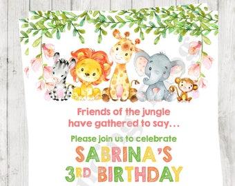 "Custom Printed 4.25X5.5"" Watercolor Wild Animals, Jungle, Safari, Girl, Birthday Invitations, envelopes included"