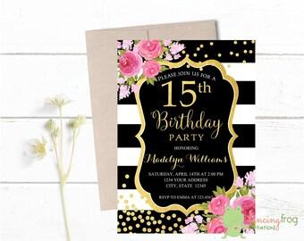 15th birthday invitation etsy popular items for 15th birthday invitation filmwisefo