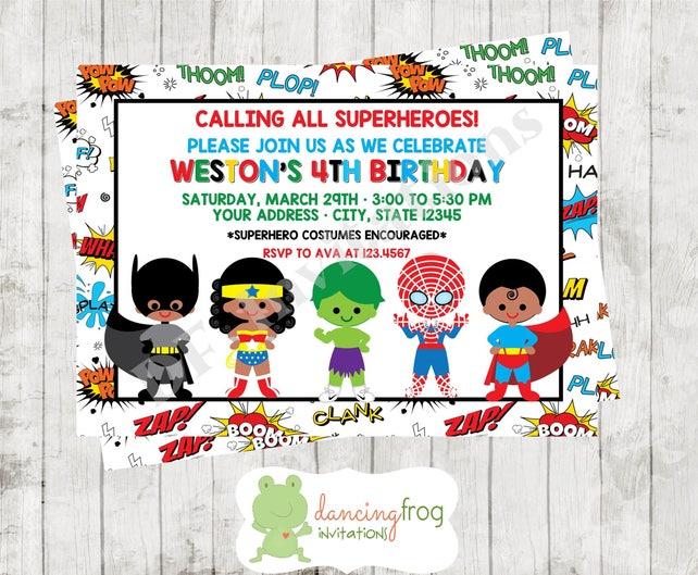 African American Superhero Birthday Invitation Custom