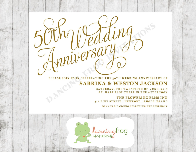 50th wedding anniversary invitation printed anniversary