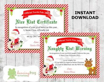 Santa Nice List Certificate - Christmas Printable - Naughty List -Kids Christmas Wish List - Santa Letter - Dear Santa - Instant Download