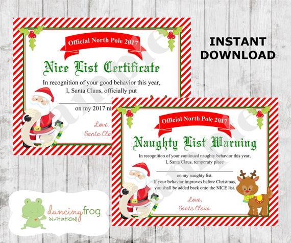 Santa schöne Liste Zertifikat Weihnachten druckbare freche