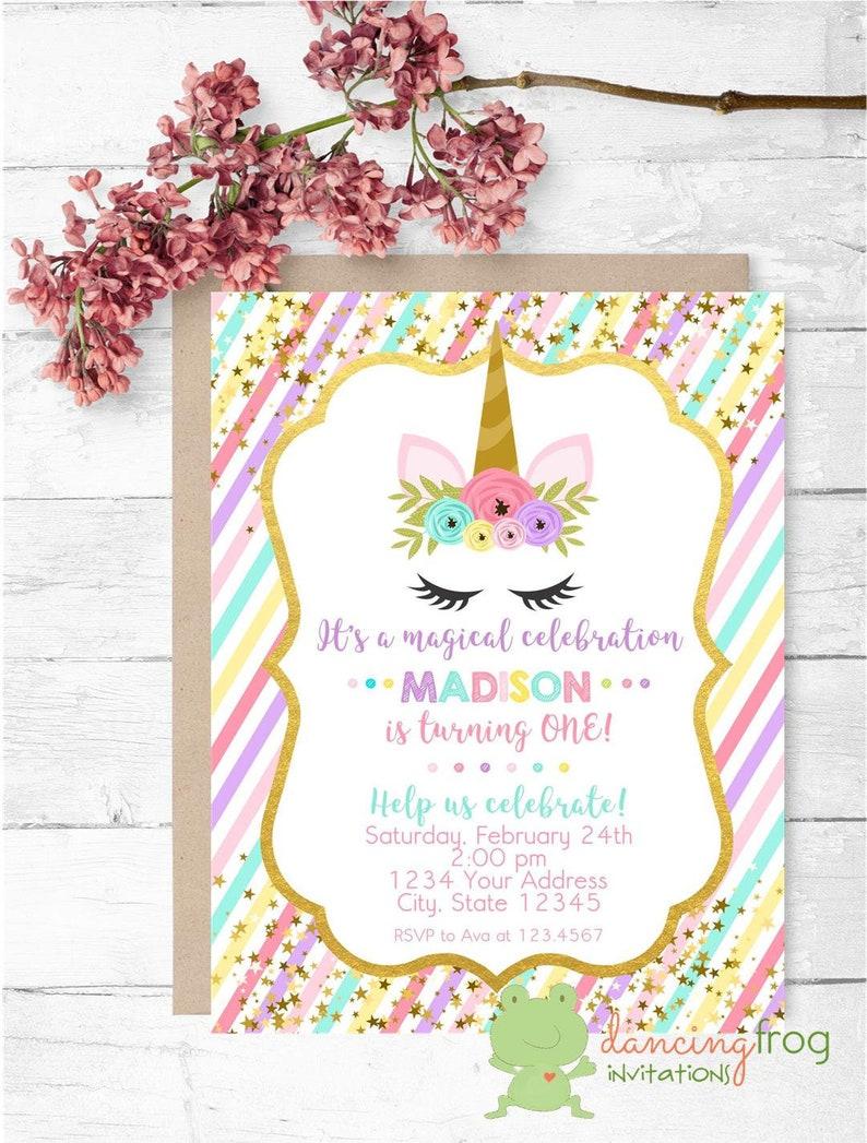 Custom Printed 425X55 Unicorn Birthday Invitations