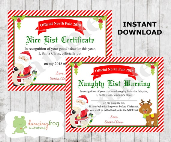 Santa Nice List Certificate Christmas Printable Naughty