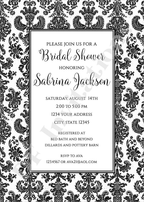 Printed Damask Bridal Shower Invitation by Dancing Frog Invitations Custom PRINTED Black and White Damask Bridal Shower Invitation