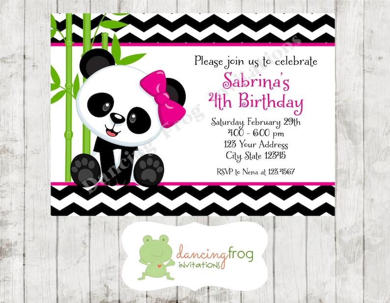 Invitaciones De Cumpleanos Del Oso Panda Panda Impreso Etsy