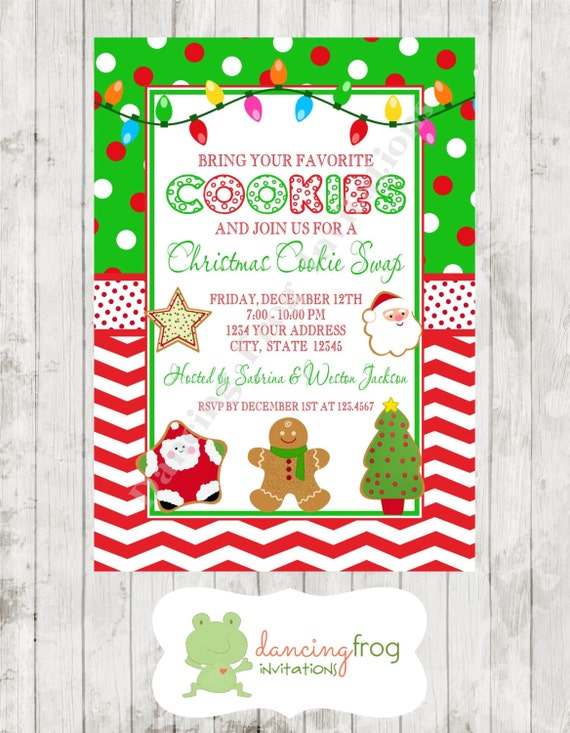 Sale Custom Printed Holiday Christmas Cookie Swap Invitation 80 Each With Envelopes Included