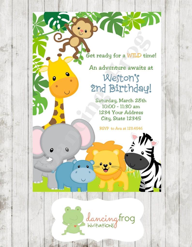 Wild Animals Jungle Safari Birthday Invitations Printed Jungle Safari Birthday Invitation By Dancing Frog Invitations