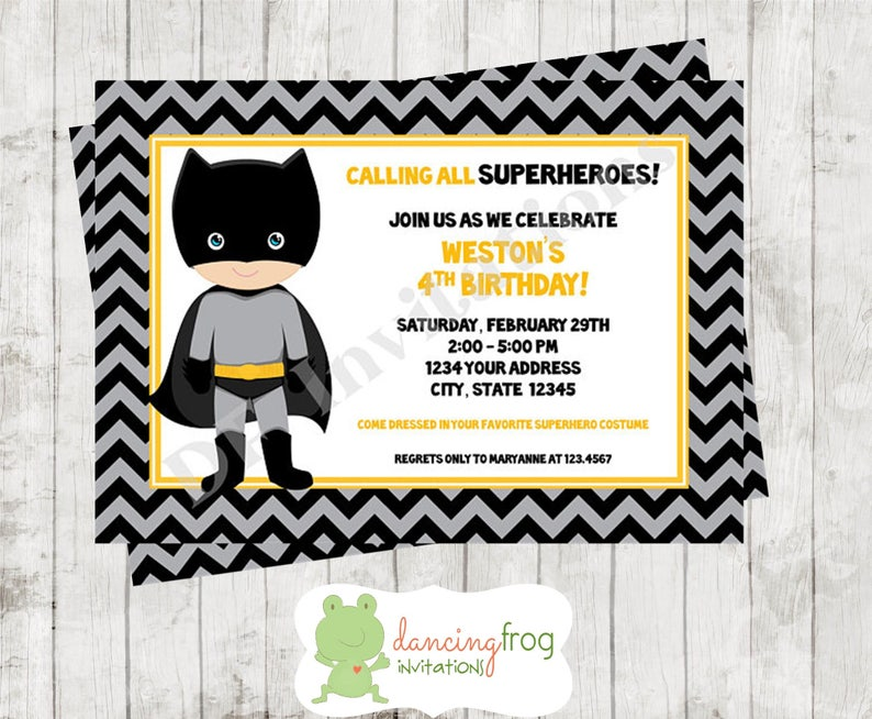 Superhero Birthday Invitation Custom Printed