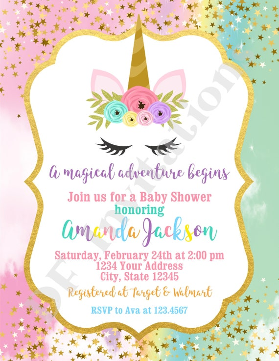 8 UNICORN BABY INVITATIONS ~ Shower Party Supplies Pastel Invites Cards Notes