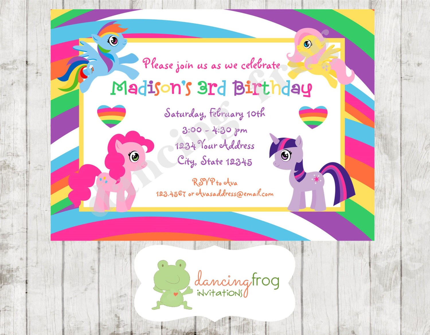 Cute Little Pony Birthday Invitation Printed Little Pony | Etsy