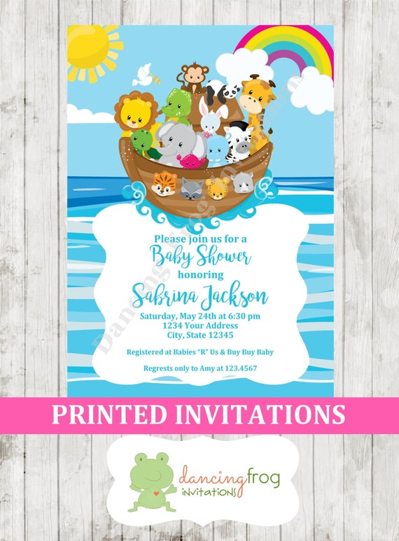 Custom Printed Noah S Ark Baby Shower Invitation Printed Etsy