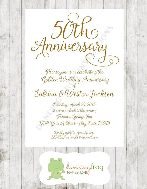 50th Wedding Anniversary Invitations.50th Wedding Anniversary Invitation Printed Anniversary Invitation By Dancing Frog Invitations