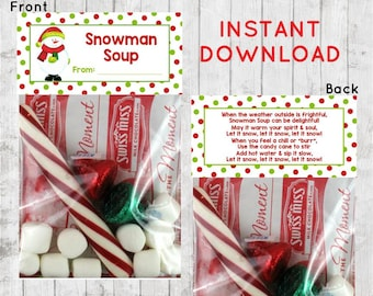 Holiday Christmas, Snowman Soup Treat Bag Topper, Treat Bag Topper, Classroom, Snowman Soup Recipe, Reindeer Food, INSTANT DOWNLOAD