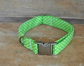 Dog Collar. Fabric Dog Collar. Lime Green Polka Dot Vintage Dog Collar. M/L