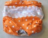 Dog Diaper. In Season Diaper. In Heat Panty. Orange Polka Dot Retro Print. X-Large.