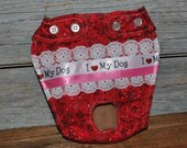 """Dog diaper. In season diaper. Dog panty. Red Vintage Floral """"I Love My Dog"""" Dog Diaper. Small"""