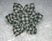 Green and Tan Check Homespun Collar Flower