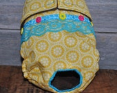 Dog diaper. In season diaper. Dog panty. Yellow and blue lace retro dog diaper. Small.