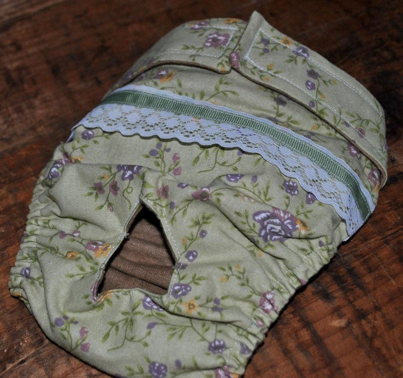 Dog diaper. In season diaper. Dog panty. Green Floral with image 0