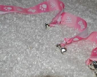 Dog Training Bells. House Training Bells. Pink Paws/Hearts/Bones Dog Training Bells.