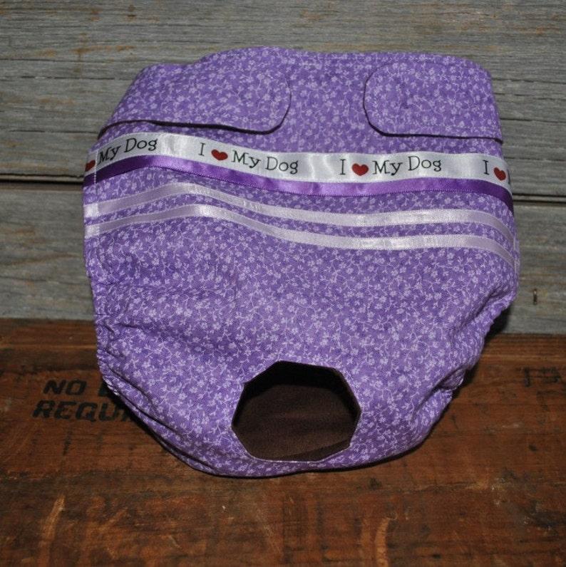 Dog diaper. Dog in season diaper. Dog panty. Purple Vintage image 0