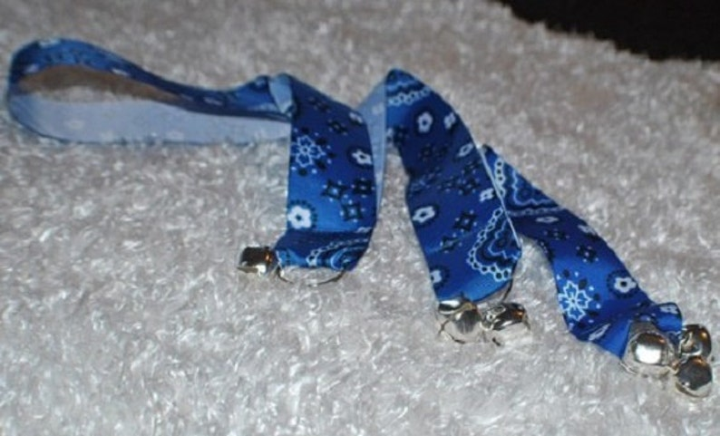 Dog Training Bells. House Training Bells. Blue Bandanna Dog image 0