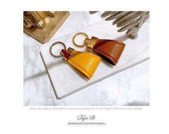 Personalized leather keychain, Handmade leather keyring