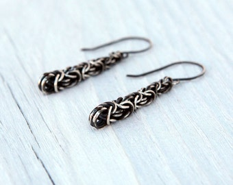 Oxidized Graduated Sterling Silver Byzantine Earrings with Handmade Ear Wires